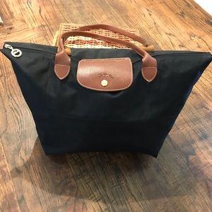 Longchamp Le Pliage Black Nylon/Leather Bag